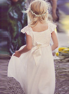 Lace Cap Sleeves Tulle Flower Girl Dress with Ribbon Bowknot, OF112