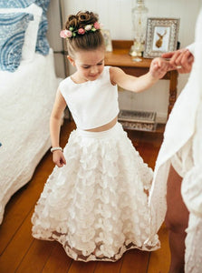 A Line Bateau Floor-length Lace Two Piece Flower Girl Dress, OF113