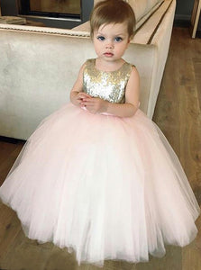 Sequins Gold Tulle Flower Girl Dress Ball Gown Birthday Dress With Bowknot, OF115