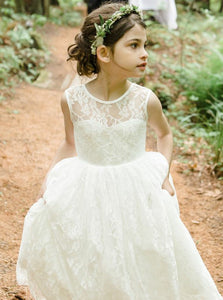 Lace A-Line Jewel Tea-Length Backless Flower Girl Dress, OF116