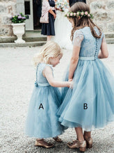 Light Sky Blue A-line Lace Tea-Length Tulle Flower Girl Dress, OF118