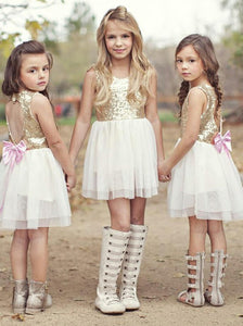 Sequins Gold Heart-keyhole Back Tulle Short Flower Girl Dress, OF119