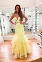 Spaghetti Straps Daffodil Lace Mermaid Prom Evening Dress With Ruffles PO358