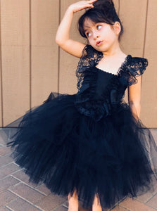 Navy Blue Lace Straps Ball Gown Tulle Flower Girl Dress with Ruffles, OF120