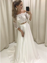 3/4 Sleeves Two Piece Off-the-Shoulder Lace Satin Wedding Dress OW351