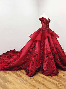Ball Gown Quinceanera Dress Burgundy Beading Prom Dress With 3D Appliques OP728