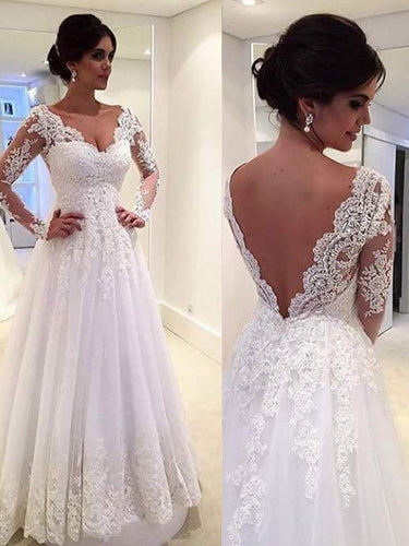 V-neck Lace Long Sleeves Ball Gown Court Train Tulle Wedding Dresses UK OW107