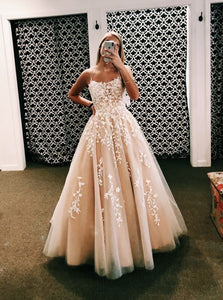Appliques Long Evening Prom Dresses, Cheap Custom Party Dresses PO370