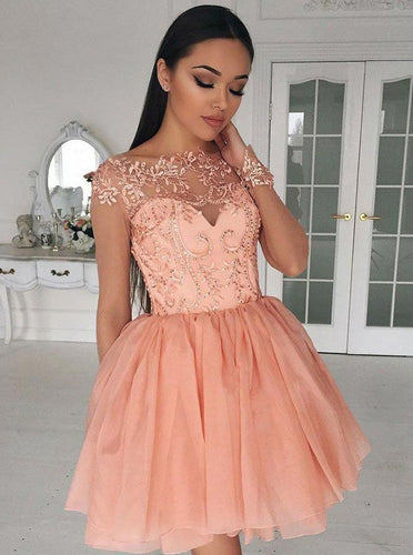 Illusion Applique Peach Short Homecoming Dresses with Chiffon Skirt OM147