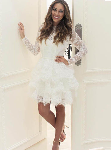 A-Line Long Sleeve Tiered Lace Homecoming Dress, Short Wedding Gown OM337