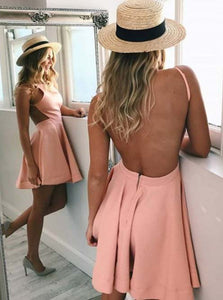 Blush Pink Cut-Out Backless Short Satin Homecoming Party Dress OM453