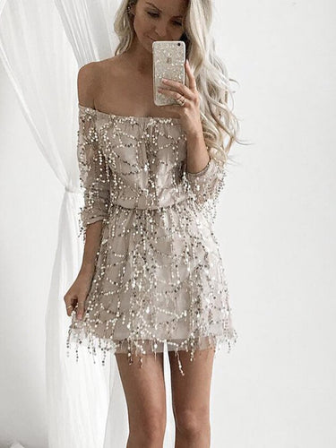 Cheap Off The Shoulder Half Sleeves Sequined Cocktail Party Dress, OC100