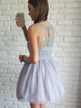 Lavender A-Line V-Neck Tulle Homecoming Dress, Short Prom Dress with Appliques, OC101