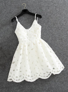 Cute Short/Mini Spaghetti Straps Hollow Lace Little White Dress, Party Dress OC102