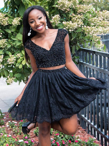 Black V-neck Two Piece Beading Bodice Homecoming Dress with Lace Skirt OM158