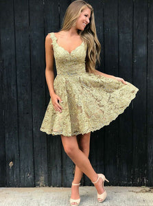 A-line V-neck Short Prom Dresses Lace Beading Homecoming Dresses OM159