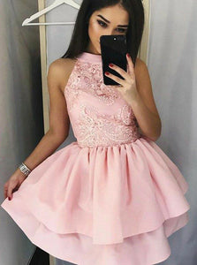 Pink High Neckline Appliques Short Homecoming Dress with Layered Skirt OM163