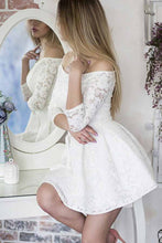 A-Line Off-the-Shoulder 3/4 Sleeves Lace Homecoming Dress OM161
