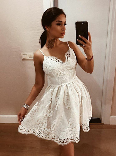A-line V-neck Lace Appliques Spaghetti Backless Short Party Dress OM165