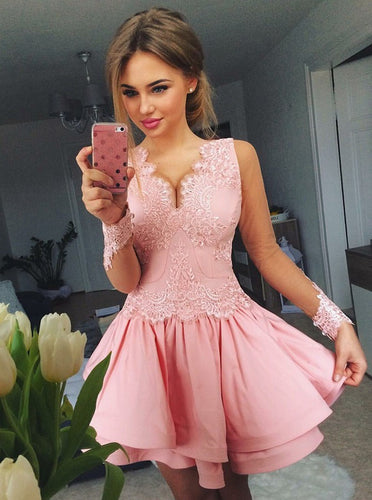 A-line V-neck Lace Long Sleeves Pink Layered Prom Homecoming Dresses OM168