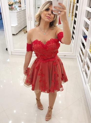 Illusion Round Red Short Prom Homecoming Dress with Beading OM341