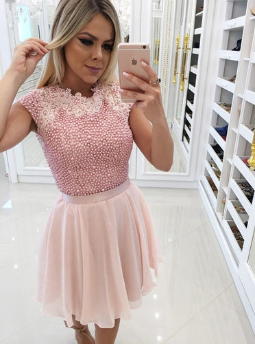Pink Homecoming Dress with Pearls Appliques Chiffon Skirt OM340
