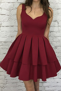 A line V-neck Burgundy Short Graduation Party Dress With Pleat Tiered OM170
