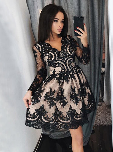 Black Lace Appliques Long Sleeves Short Prom Homecoming Dress OM179
