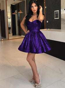 Sparkly Purple Sequins Sweetheart Short Party Homecoming Dress OM180