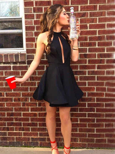 High Neck Black Short Prom Dress Cut Out Homecoming Dress with Pleats OM257