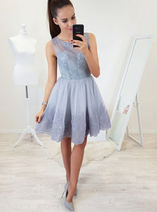 A-line Fit & Flare Lace Applique Short Prom Homecoming Dress OM230