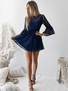 A-line Bateau Lace Navy Blue Bell Half Sleeves Homecoming Dress With Open Back OM233