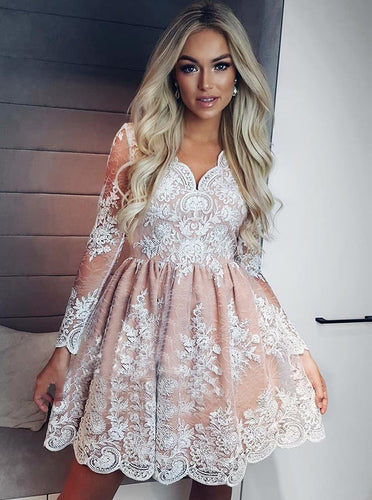 A-line Long Sleeves Short Prom Dress Lace Homecoming Dresses OM236