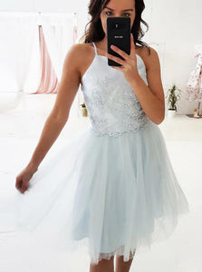 A-line Spaghetti Straps Appliques Homecoming Dresses with Tulle Skirt OM237