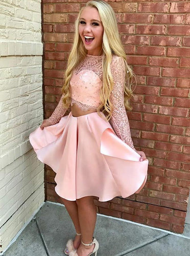 Two Piece Pink Short Prom Dress Lace Bodice Long Sleeve Homecoming Dresses OM242