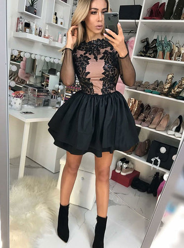 Long Sleeve Appliques Bodice Satin Black Short Party Dress with Tiered Skirt OM245