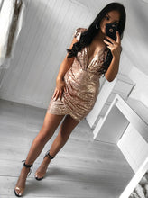 Cap Sleeves Plunging V-neck Gold Sequin Cocktail Party Dresses OM249