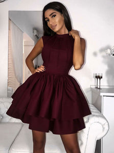 Simple Burgundy High Neck Short Homecoming Dresses With Tiered Skirt OM252