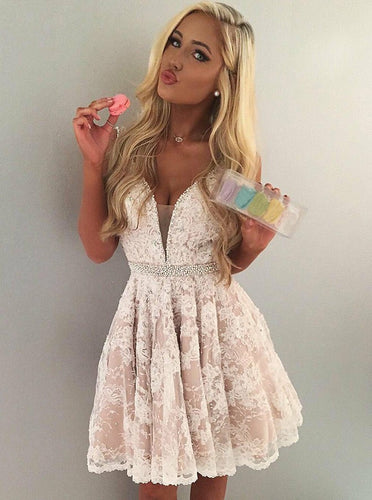 Lace Short Prom Dresses V-neck Pleat Homecoming Dress with Beading OM256