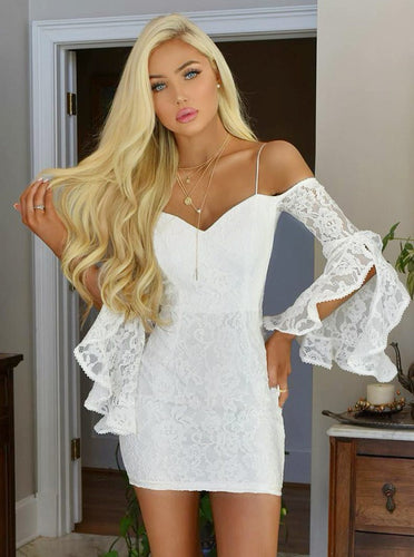 Off-Shoulder White Bodycon Lace Tight Party Dress with Bell Sleeves OM262