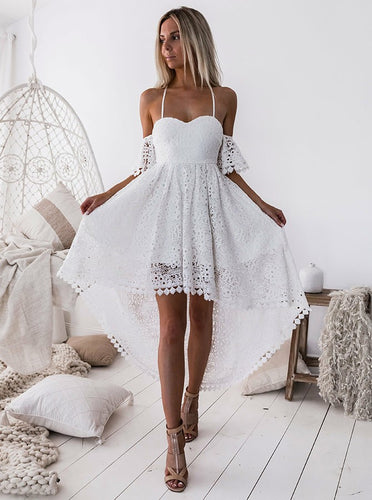 Off-Shoulder White Pleated Hollow Out Lace High Low Homecoming Dress OM261