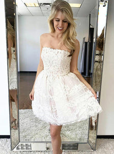 A-line Ivory Strapless Homecoming Dresses Lace Short Party Dress OM264