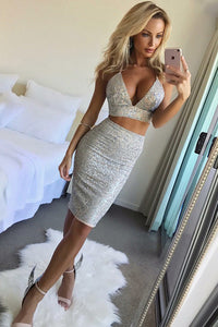 Sheath V-neck Knee Length Two Piece Sequins Tight Party Dress OM268