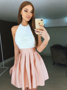 Halter Lace Bodice Satin Backless Pearl Pink Short Prom Party Dress OM281