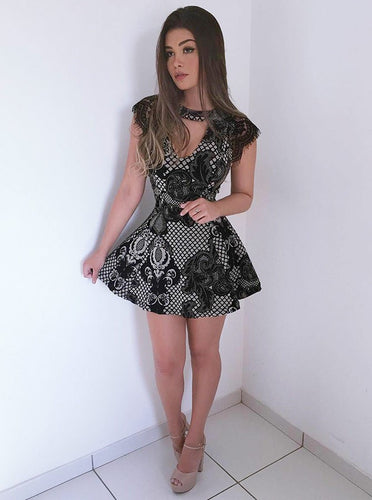 Jewel Cutout Lace Short Mini Dress Cap Sleeve Black Appliques Party Dress OM279