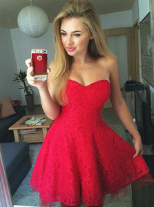 Cute Sweetheart A-line Lace Red Pleats Homecoming Dress OM284