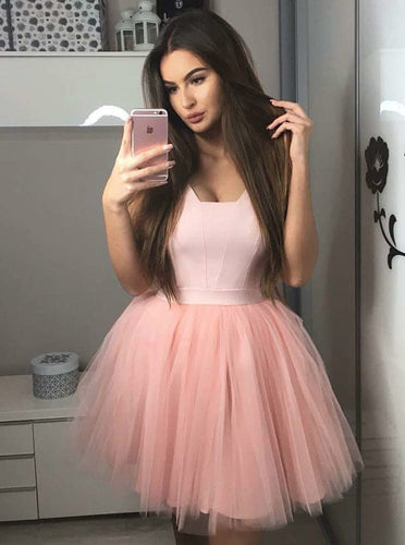 Blush Pink Satin Bodice Short Homecoming Dress with Tulle Pleated Skirt OM283