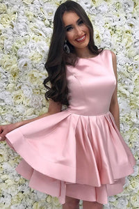 Jewel Pink Short Prom Dresses Satin Pleated Tiered Skirt Homecoming Dress OM290