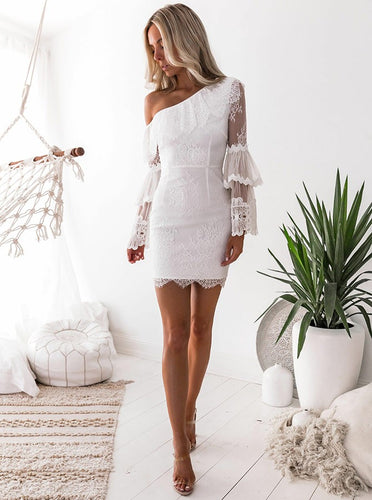 Sheath White One-Shoulder Lace Long Bell Sleeves Layered Bodycon Party Dress OM288