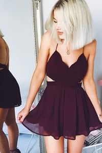 Cute Chiffon Maroon Homecoming Dresses Backless Party Dress OM205